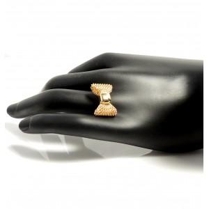 Bague ajustable nœud papillon en maille métal doré