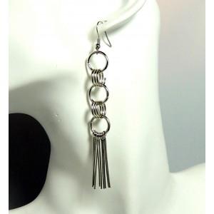 Boucles longues en métal argenté