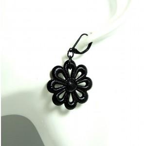 Boucles d'oreilles en forme de fleur, métal noir