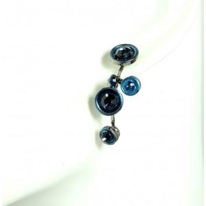Boucles d'oreilles en métal laqué bleu orné de cristaux bleus