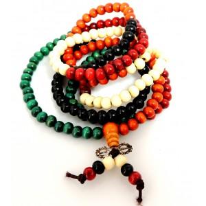 Bracelet en bois de santal, perles 4 couleurs, multirangs , unisexe
