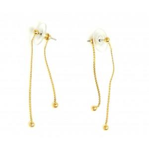 Boucles d'oreilles double chaînes en métal doré