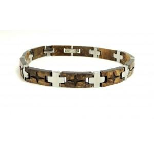 Bracelet en résine marron et acier