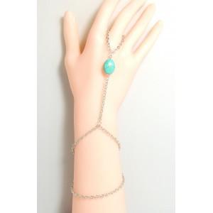 Bijou de main, pierre turquoise, bracelet 2 tours en métal argenté