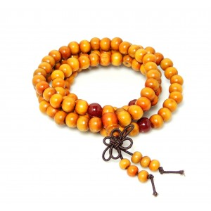 Bracelet en bois de santal, perles couleur marron clair, multirangs , unisexe