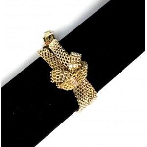 Bracelet mailles doubles en métal doré, double tour