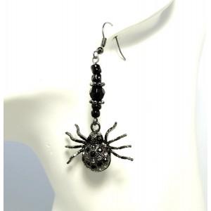 Boucles d'oreilles en forme d'araignée noire ornée de strass noirs et blancs