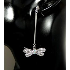Boucles d'oreilles avec libellule en strass et cristal monté sur tige pendante