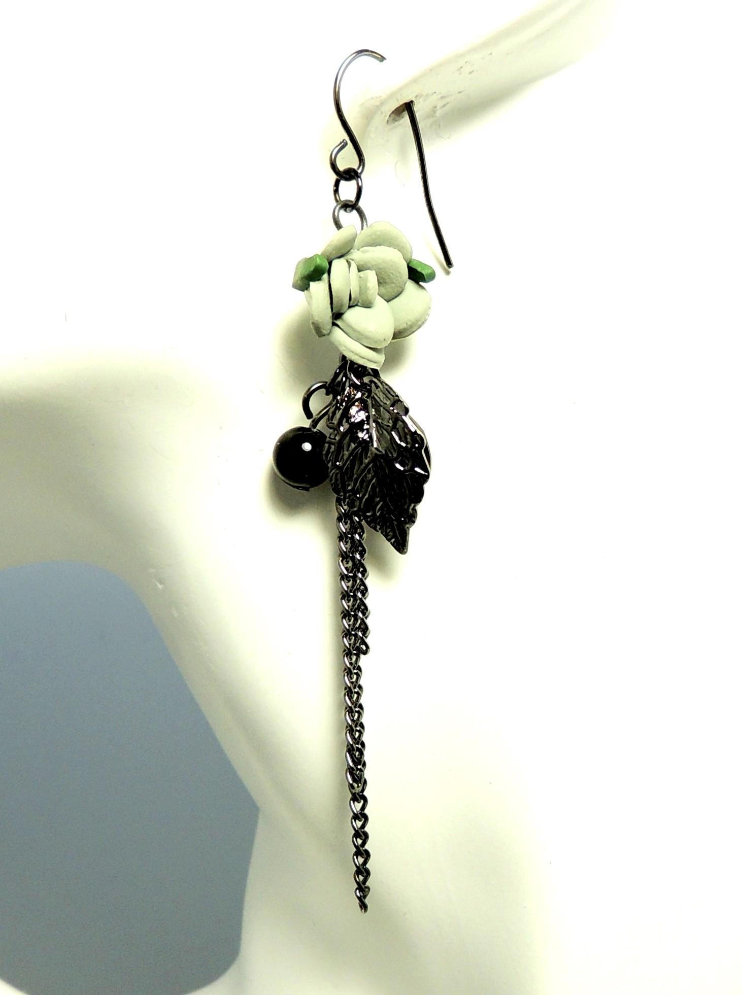 Boucle d'oreille avec pierre noir