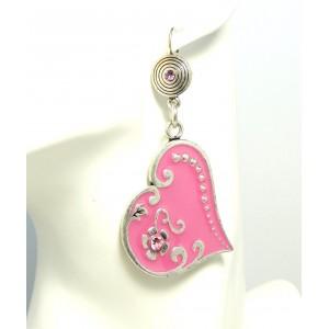 Boucles d'oreilles en forme de coeur laqué rose fuchsia et strass rose