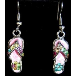 Boucles nacre rose, métal argenté strass, forme tong