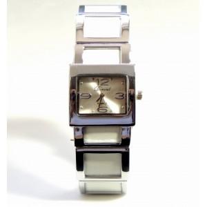 Montre en acier et bracelet cuir synthétique blanc, marque Durand
