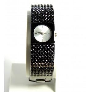 Montre bijou femme, bracelet rigide marron foncé avec pierres noires, marque Vaece