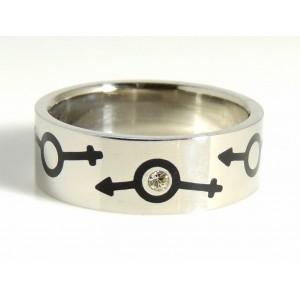 Bague pour homme en acier 316 L orné des symboles homme et femme
