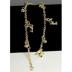 Chaîne de cheville en plaqué or avec perles et dauphins pendants