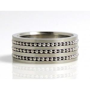 Bague pour homme en acier 316 L, 3 lignes de billes en acier sont incrustées dans l'anneau