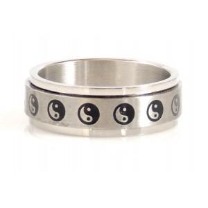 Bague antistress pour homme en acier 316 l, anneau tournant gravé du motif yin et yang