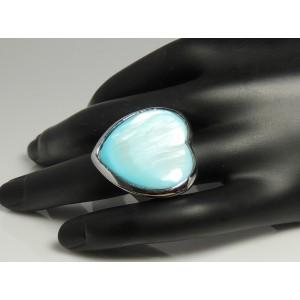 Grosse bague en forme de coeur en acier et nacre bleue