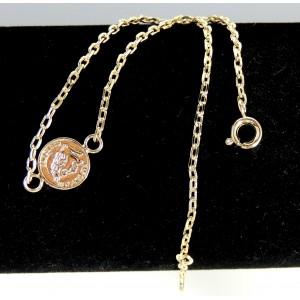 Chaîne de cheville en plaqué or 1 micron de qualité, chaîne ornée d'une médaille représentant un louis d'or