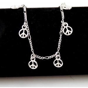 Chaîne de cheville en métal argenté peace and love