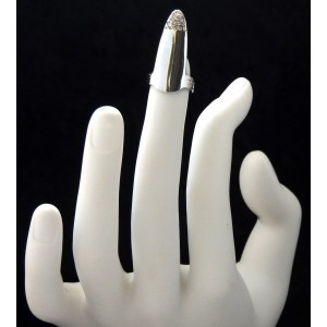Bague d'ongle ajustable en métal argenté orné de strass