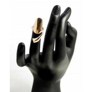 Bague d'ongle ajustable en métal uni doré