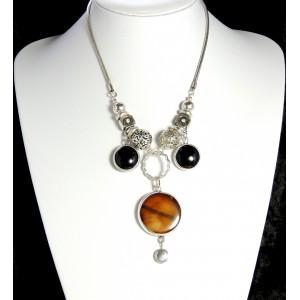 Collier Hervé Dubin en métal argenté et perles de verre