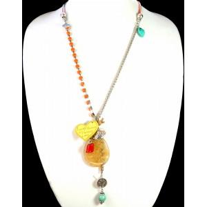 Sautoir avec cristaux oranges, 6 cordons enduits, chaîne métal, pierres