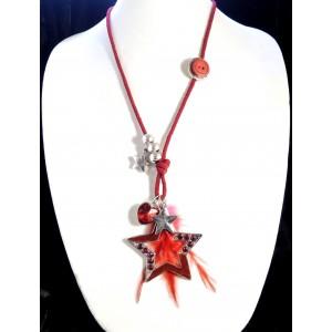 Sautoir avec cordon rouge, perles métal, étoile avec strass rouges incrustés et plume rouge