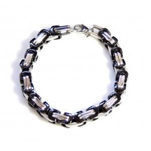 Bracelet avec mailles originales en acier inoxydable 2 couleurs, argent et noir
