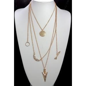 Collier long 5 rangs en métal doré avec breloques