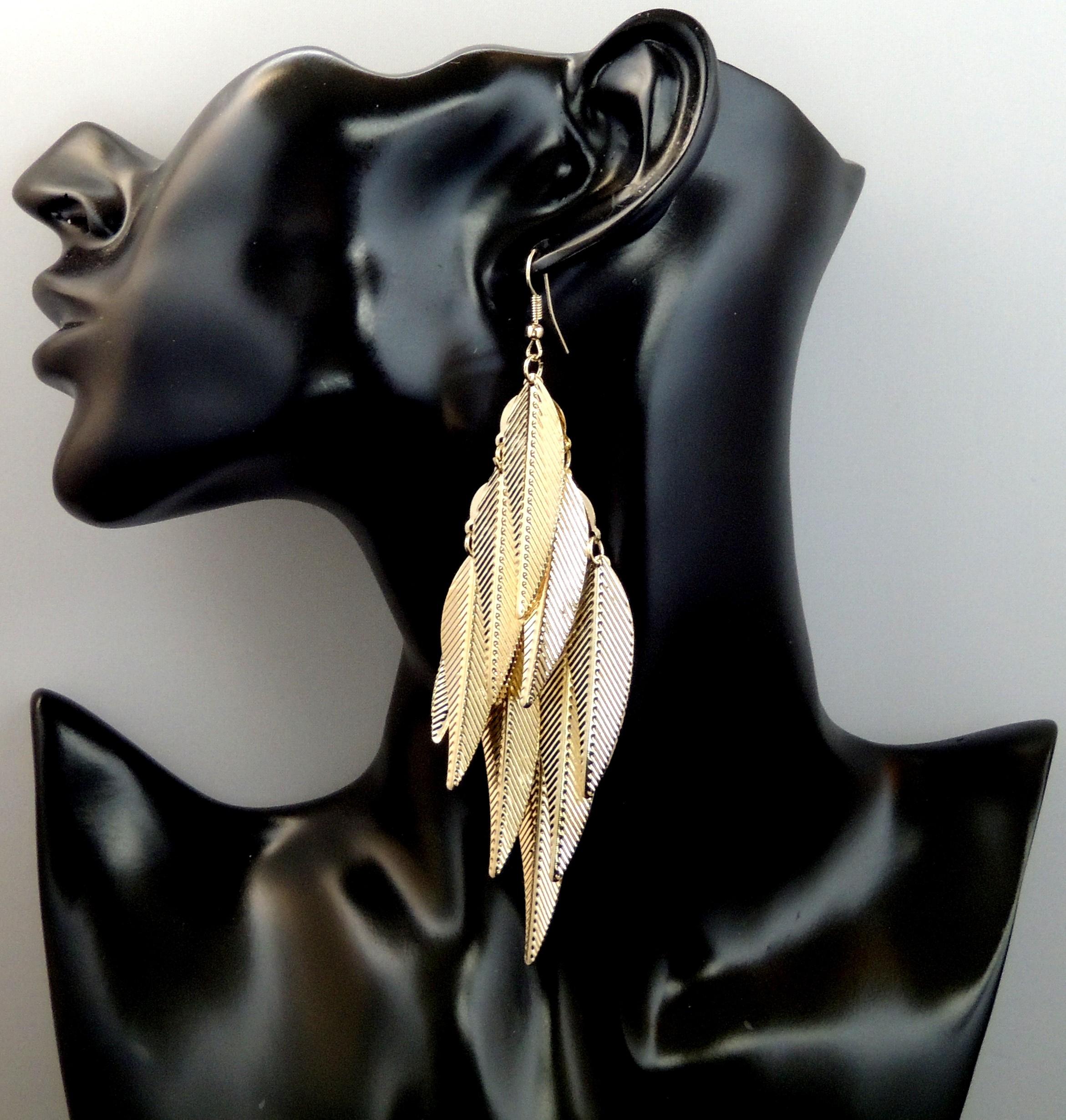 esthétique de luxe prix abordable chaussures de séparation Boucles d'oreilles longues en métal doré, feuilles nervurées pendantes