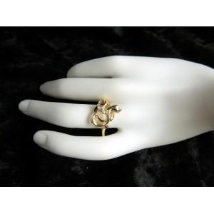 Bague en forme de serpent plaqué or orné de petits strass
