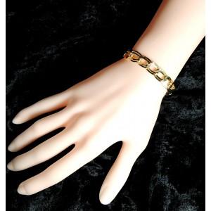 Bracelet femme en plaqué or, maillons doubles entrelacés