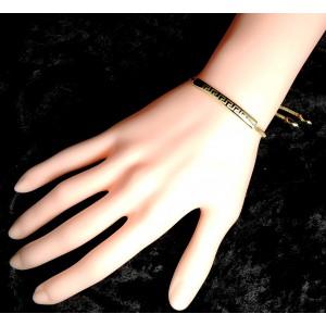 Bracelet en plaqué or style gourmette, gravage sur le dessus de motifs grecs