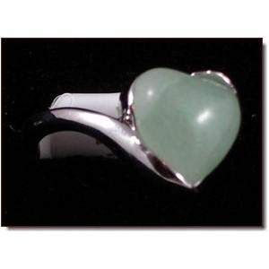 Bague pierre naturelle cœur vert