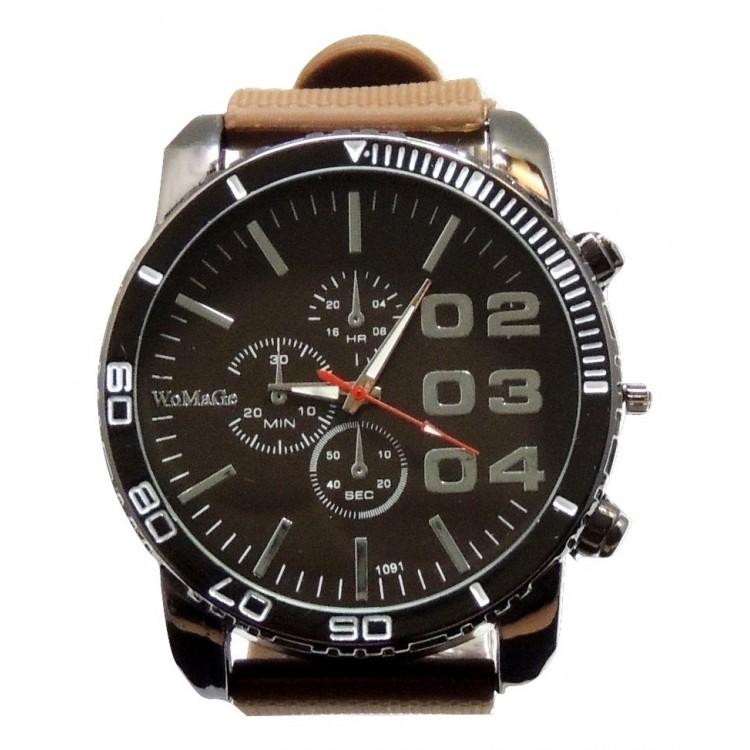 grosse montre homme avec bracelet en silicone marron cadran marron fonc. Black Bedroom Furniture Sets. Home Design Ideas