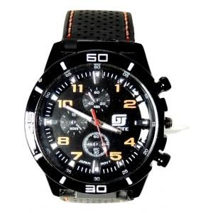 Montre homme sport, cadran noir, chiffres orange, bracelet noir et surpiqûres orange
