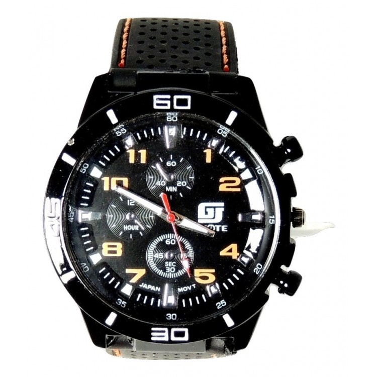 Montre Homme Sport Cadran Noir Chiffres Orange Bracelet Et Surpiqûres