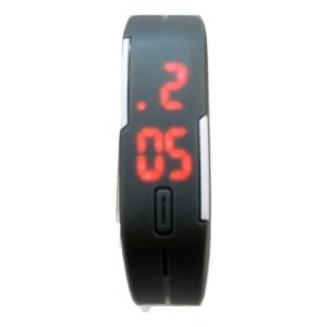 Montre sport mixte avec affichage numérique rouge, bracelet réglable en silicone gris