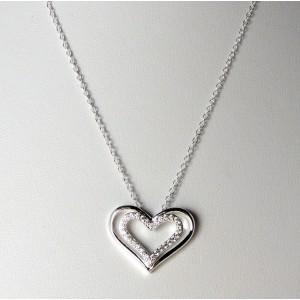 Collier en argent 925 avec un pendentif double cœurs dont l'un serti de strass