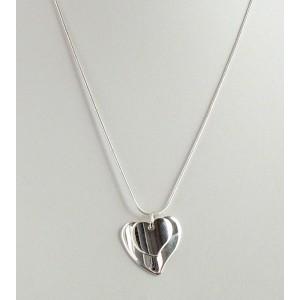 Collier en argent 925, chaîne avec 2 cœurs polis superposés