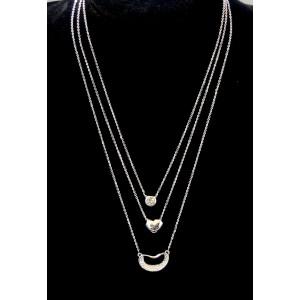 Collier 3 chaînes et 3 pendentifs en plaqué or blanc orné de cristaux blancs