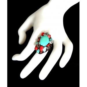 Bague ajustable Navajo, pierres naturelles rouges et bleu turquoise