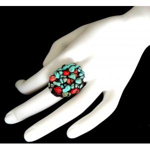 Bague ajustable Navajo, rocher de pierres naturelles bleu turquoise et rouges