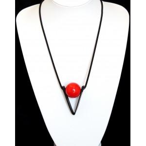 Collier design, chaîne serpent noire avec pendentif géométrique