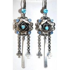 Boucles métal argent brossé et strass bleus