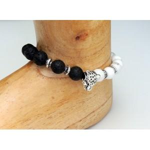 Bracelet de cheville en pierres naturelles noires et blanches et tête de léopard