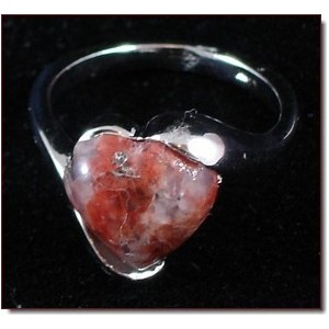 Bague pierre naturelle cœur marron, femme