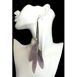 Boucles d'oreilles XXL, ornées de plumes grises naturelles et perles blanches nacrées